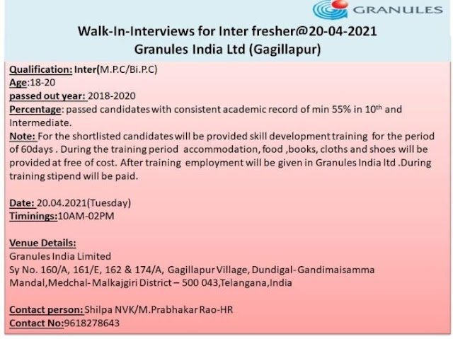 Granules India Ltd | Walk-in interview for Freshers on 20th Apr 2021 at Hyderabad