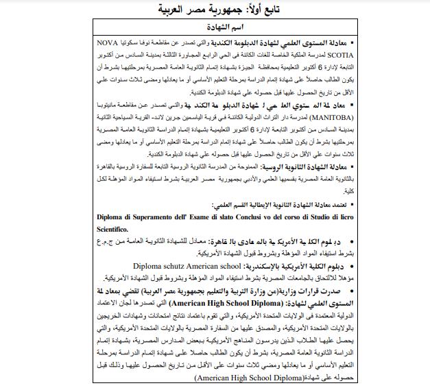 قائمة الشهادات العربية والأجنبية المعادلة بالثانوية العامة المصرية 502