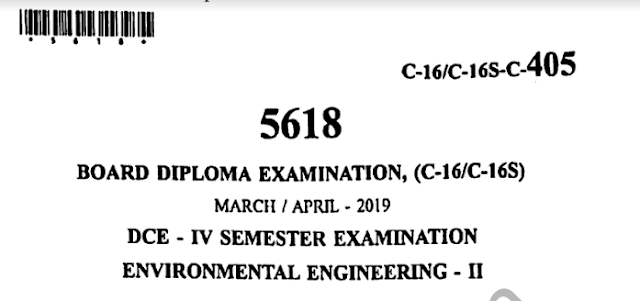 Diploma Previous Question Paper c16 civil 405 Environmental Engineering-2 April 2019