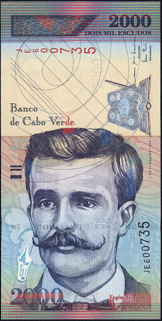 Currency of Cape Verde 2000 Escudos banknote 1999 Eugenio Tavares