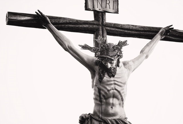 grayscale-photo-of-the-crucifix-god-jesus
