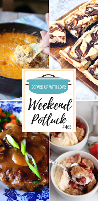 Weekend Potluck featured recipes include Cream Cheese Strawberry Cobbler, Southern Salisbury Steak, Nutella Cheesecake Brownies, Taco Dip, and more.