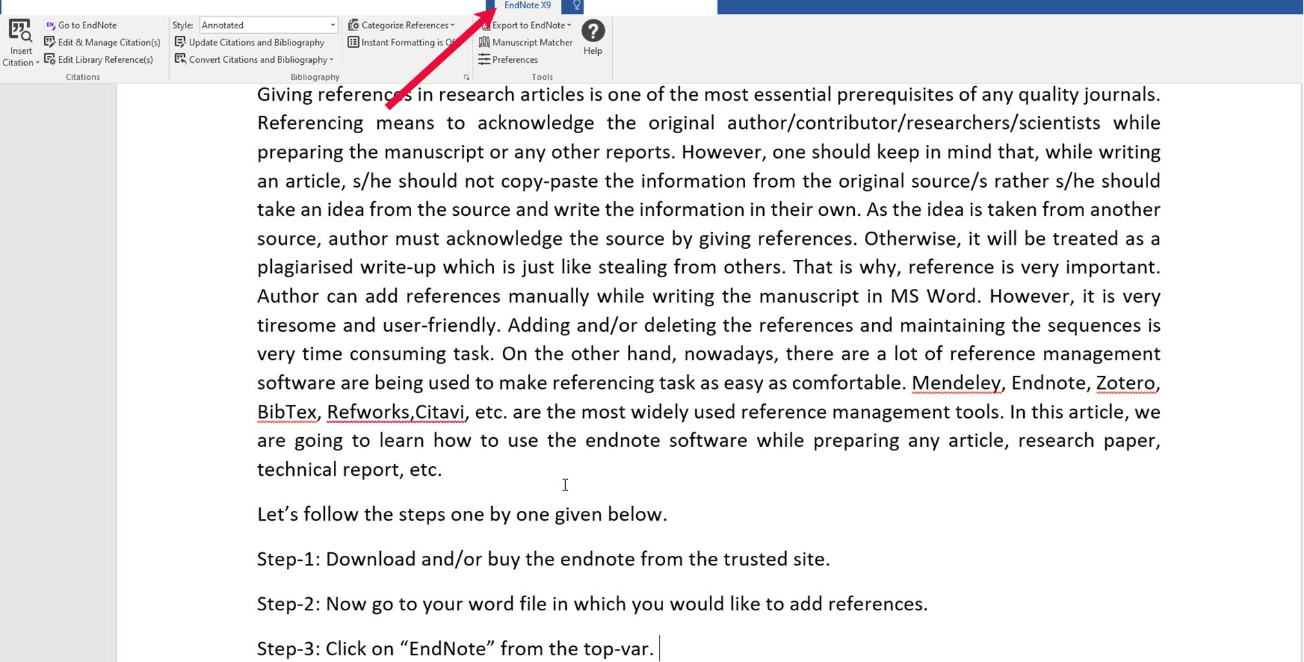 1. Reference Management by using EndNote