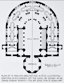 Plan of pavilion for Fête Champêtre at The Oaks from  The Works in Architecture of Robert and   James Adam by R&A Adam (1773)