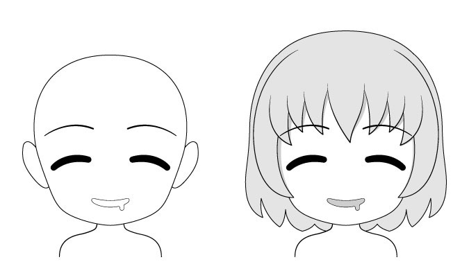 Ekspresi wajah anime chibi lapar