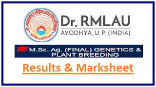 RML Ayodhya M.Sc Agri Final Genetics & Plant Breeding Result 2021