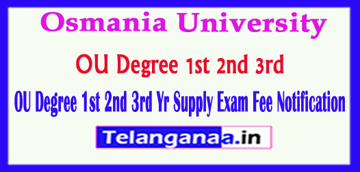 OU Osmania University Degree 1st 2nd 3rd Yr Supply Exam Fee Notification 2018