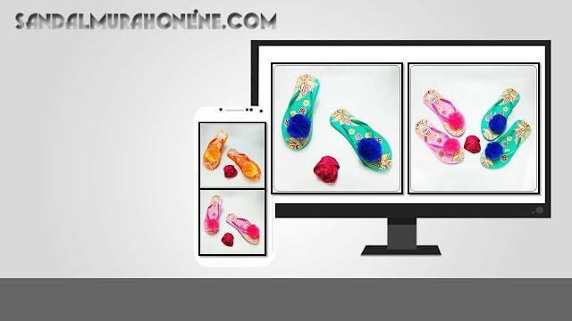 Grosir Sandal Terlengkap - Sandal AB Sablon Bunga Pompom