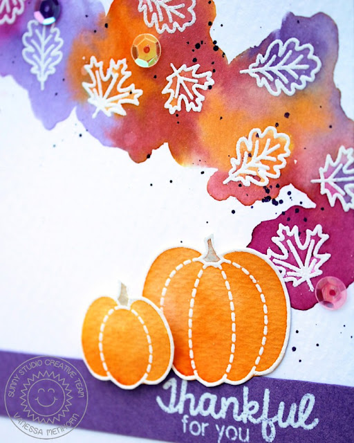 Sunny Studio Stamps: Harvest Happiness Watercolor Fall Leaves & Pumpkin Card by Vanessa Menhorn.