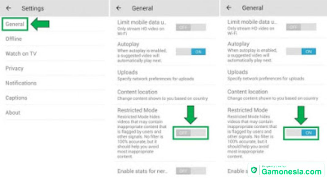cara mengaktikan restricted mode di youtube