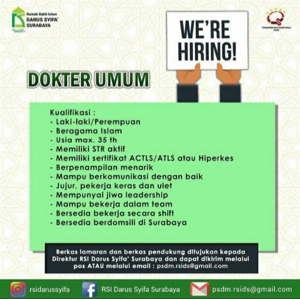 Loker Dokter Umum RSI Darus Syifa Surabaya