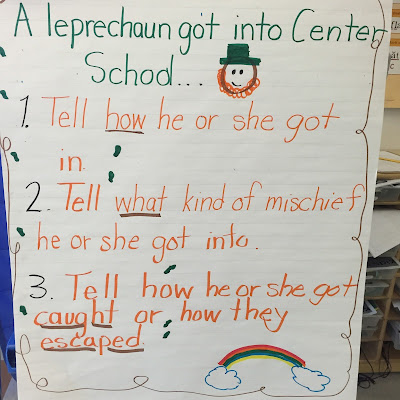 narrative writing: tell how a leprechaun got loose in school.