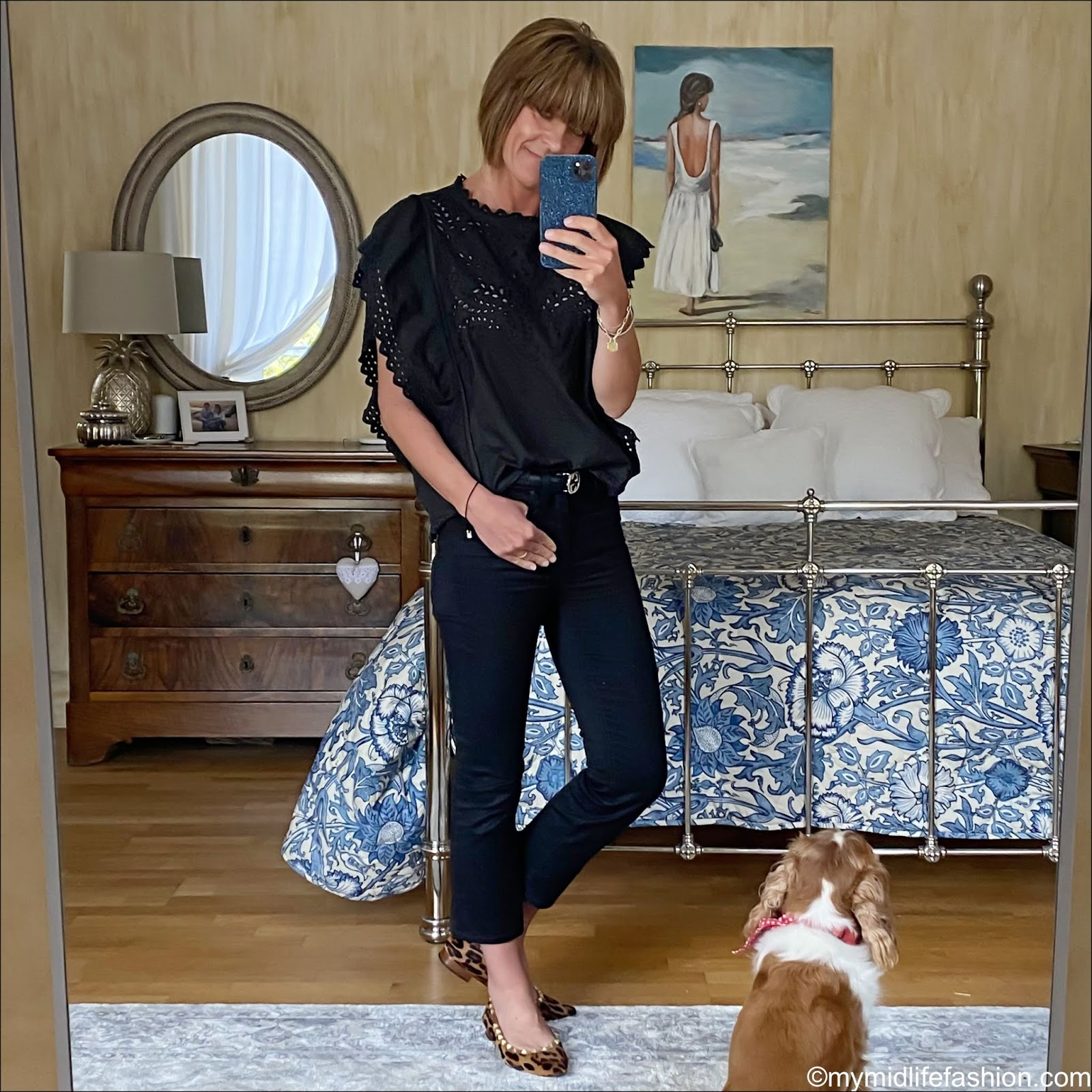 my midlife fashion, Isabel Marant Etoile broderie blouse, j crew cropped kick flare jeans, leopard print flat ballet pumps, Gucci leather double GG belt