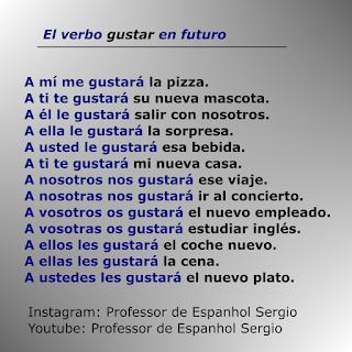 O verbo gustar em presente, passado e futuro (singular e plural), Verbo gustar em espanhol, Espanhol, Curso de Espanhol, Dicas de espanhol, Verbos, Conjugação Gustar, Espanhol Português, Espanhol para brasileiros