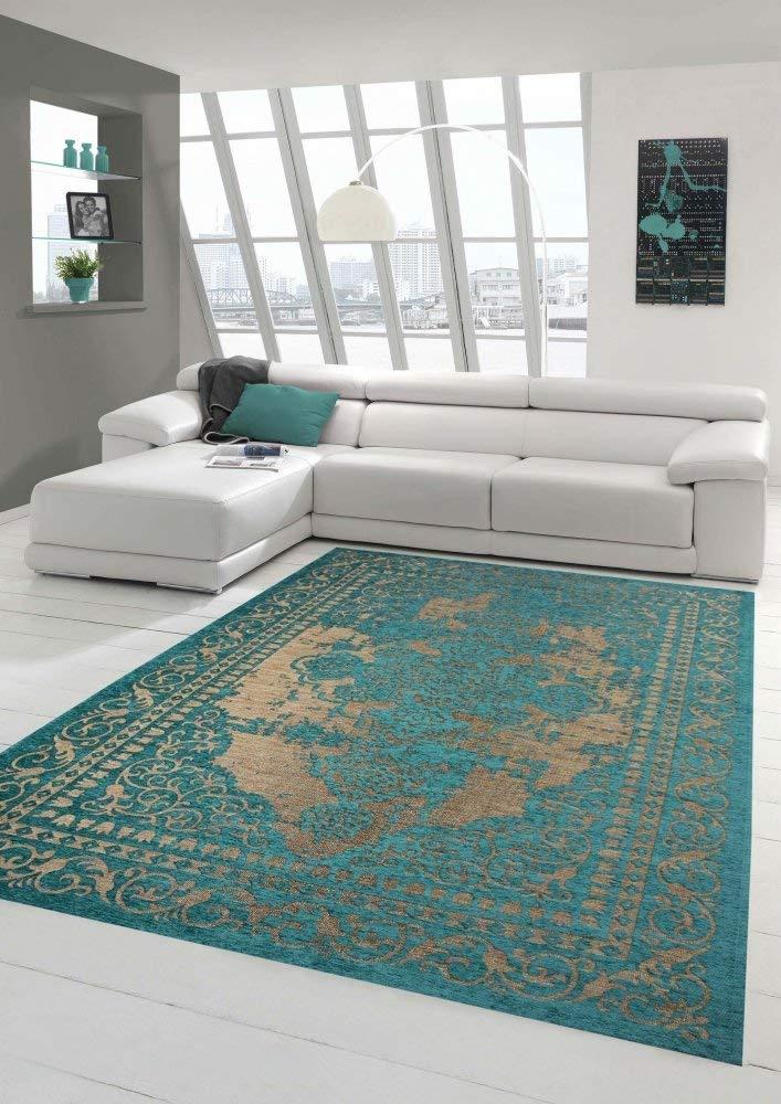 Tapis contemporain design Tapis Oriental pas cher salon tapis avec bordure en beige turquoise