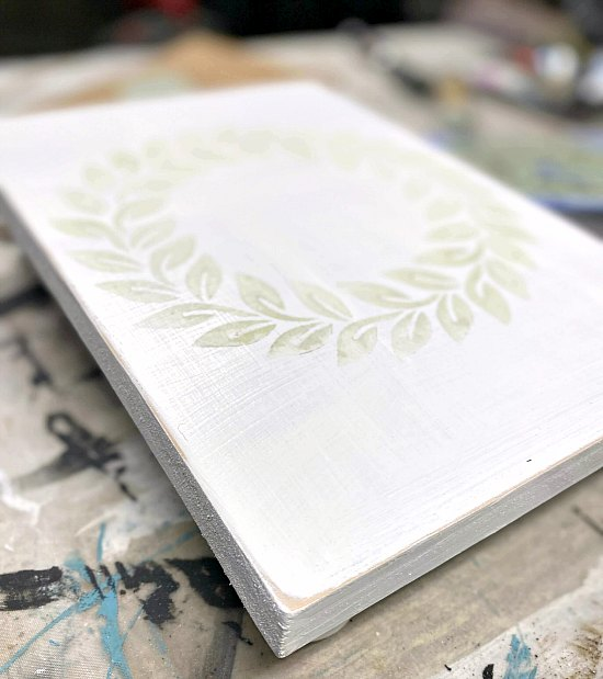 Distressed Stenciled White Scrap wood table riser DIY