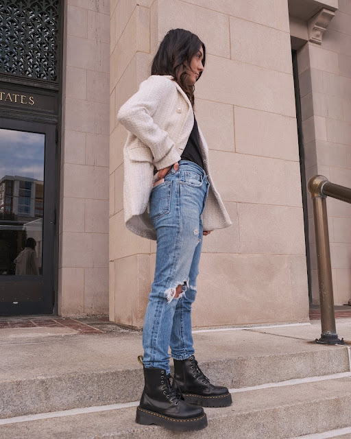 tweed blazer outfits, levis 501 skinny outfit ideas, how to style doc martens jadon boots