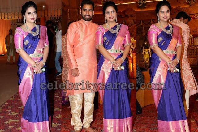 Blue and Pink Traditional Pattu Saree
