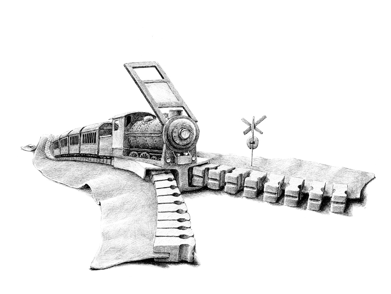 14-Train-Zip-Redmer-Hoekstra-Drawing-Fantastic-and-Surreal-World-of-Hoekstra-www-designstack-co