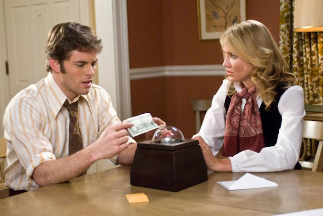 James Marsden and Cameron Diaz try to figure out if you can fuck The Box. Spoiler Warning: You Can't