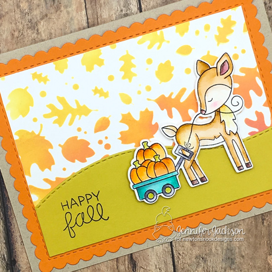 NND Sponsors Cupcake Inspirations Challenge #481 | Fall Card by Jennifer Jackson using Harvest Tails Stamp Set and Falling Leaves Stencil by Newton's Nook Designs #newtonsnook #handmade