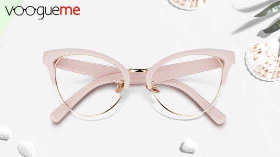 browline pink eyeglasses