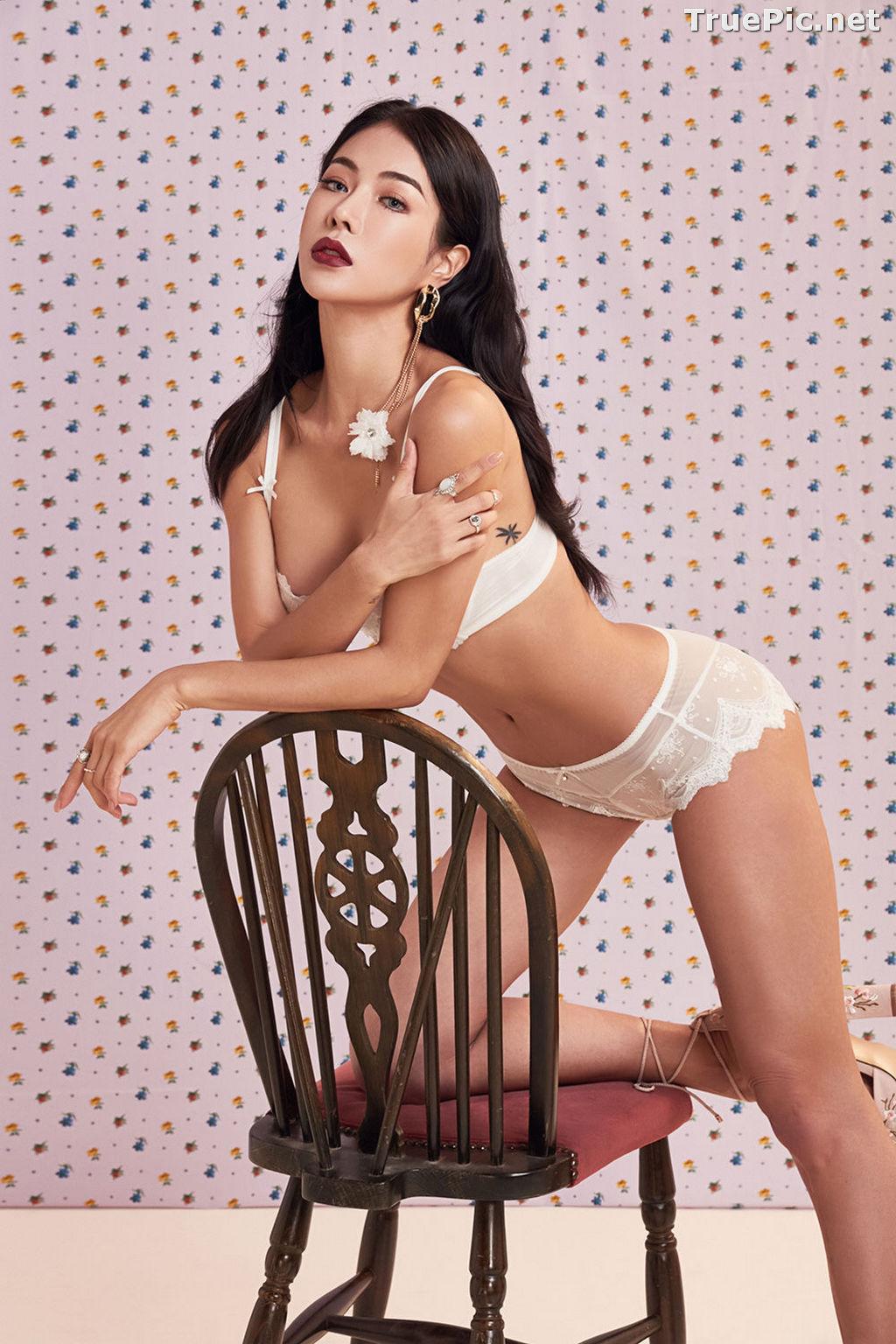 Image Korean Fashion Model - An Seo Rin - White Lingerie and Sleepwear Set - TruePic.net - Picture-8