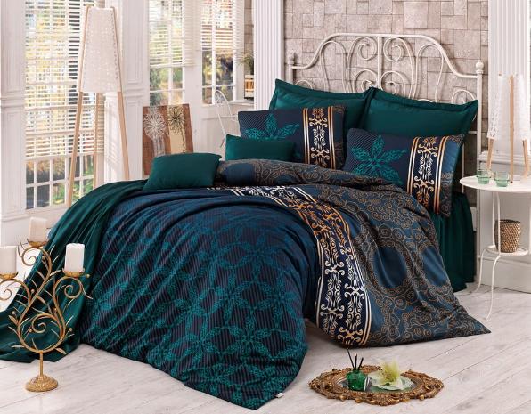 Lenjerie de pat cu cearșaf din bumbac satinat pentru pat dublu Victoria Alisa, 200 x 220 cm