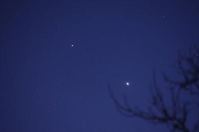 Saturn and Jupiter after sunset