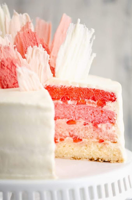 Fresh Strawberry Ombre Cake | The Creative Bite