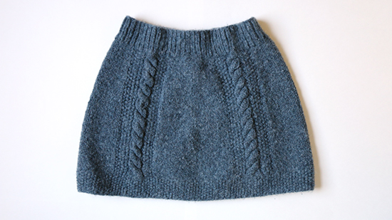 Blue Knit Wool Skirt with Cable Detail