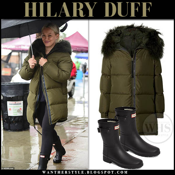 Hilary Duff in khaki green shell parka mr and mrs italy and black hunter rain boots winter celebrity style february 3