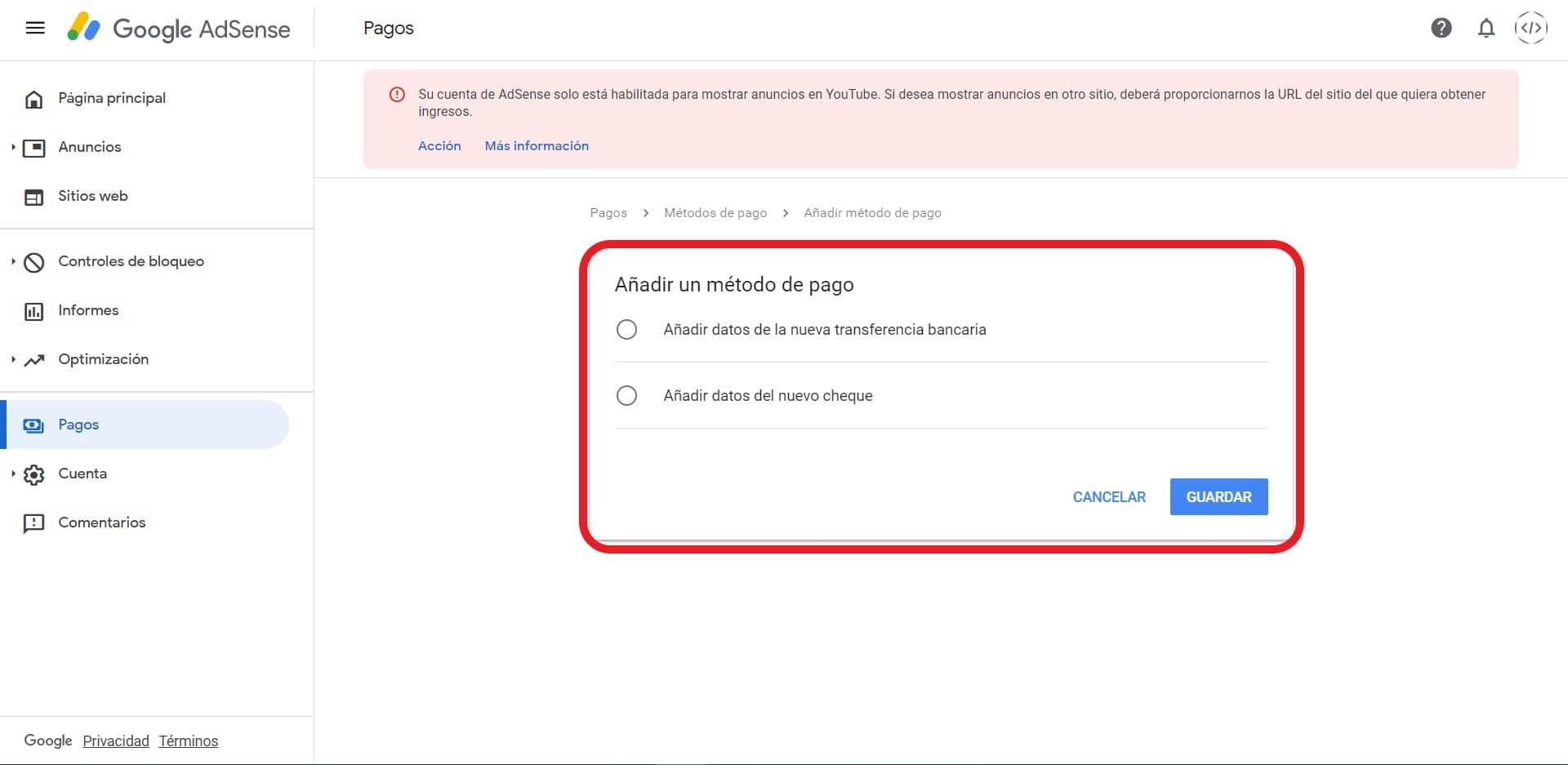 nuevos métodos de pagos de Google AdSense