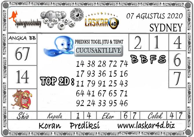 Prediksi Togel SYDNEY LASKAR4D 07 AGUSTUS 2020