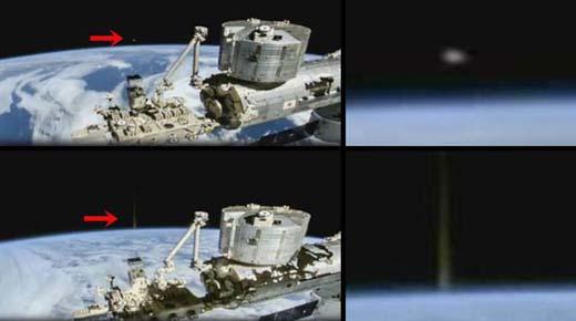 Haz de energía disparado desde la superficie de la Tierra hacia un OVNI que esta en el espacio