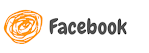 círculo cor de laranja com a palavra Facebook