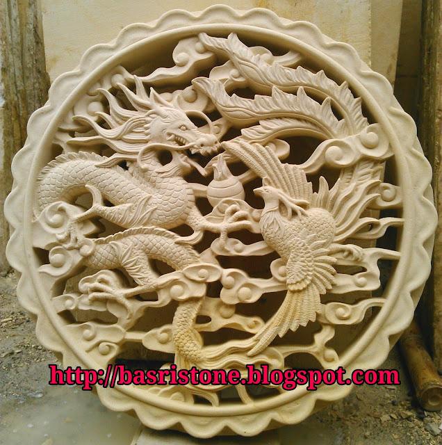 Kerajinan batu alam Roster naga dan burung hong