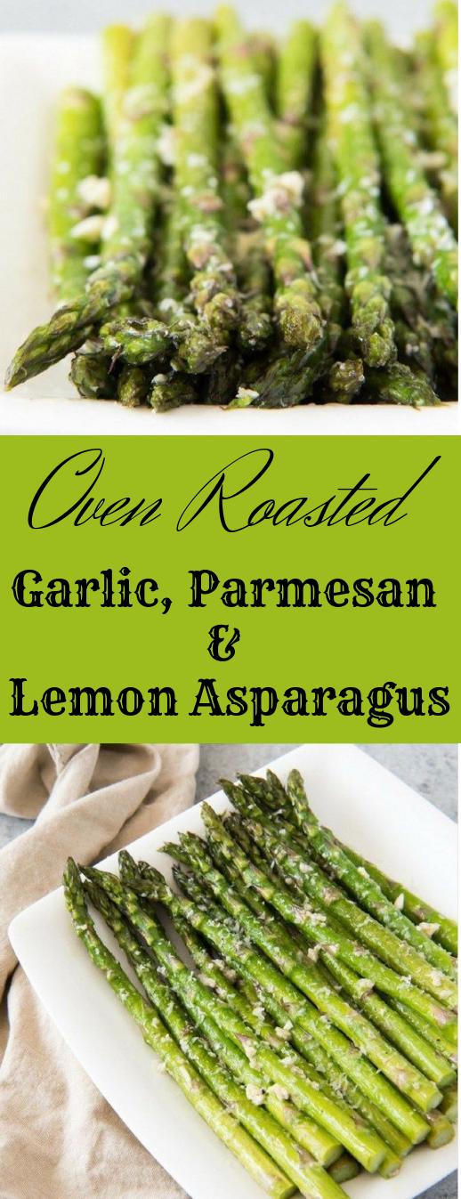 OVEN ROASTED ASPARAGUS WITH GARLIC, PARMESAN, & LEMON #dinner #healthy