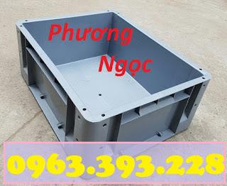 Thùng nhựa đặc có lỗ, thùng nhựa kích thước 480 x 380 x 200 mm, thùng nhựa công nghiệp