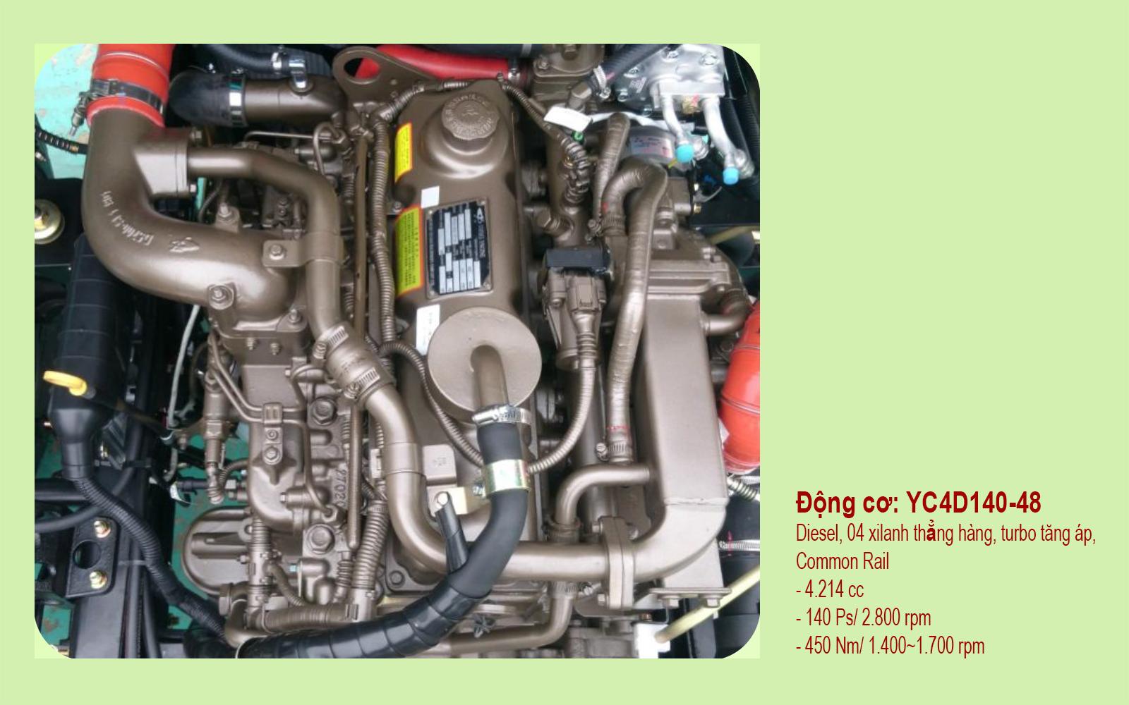 Xe ben Forland Thaco FD850 được trang bị động cơ YUCHAI YC4D140-48