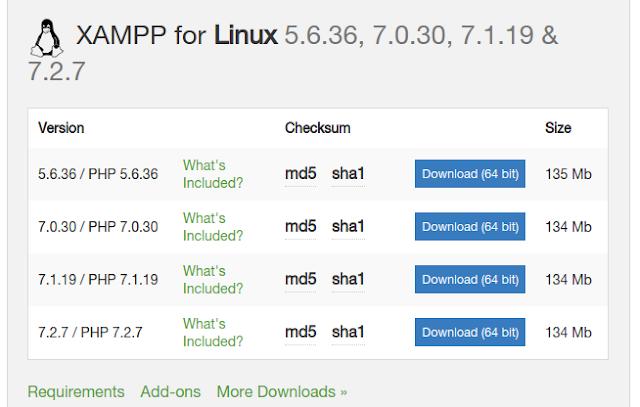 تحميل برنامج إدارة الخادم المحلى xampp على نظام تشغيل أوبنتو لينكس