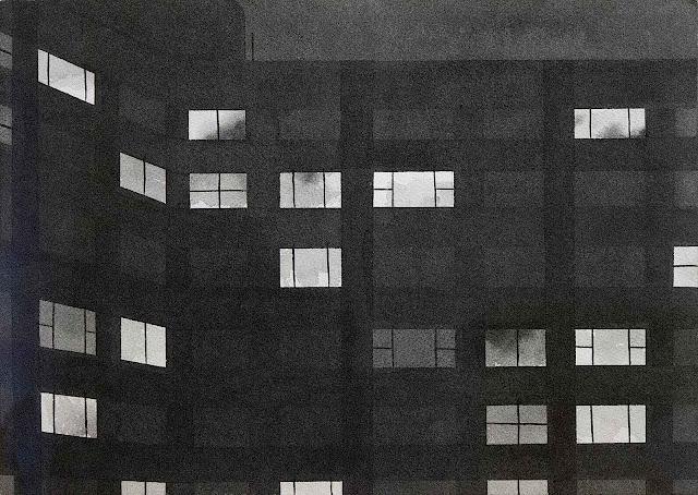 Chris Ballantyne art, apartment windows at night