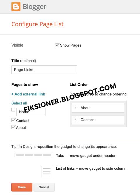 Widget Page List Fiksioner