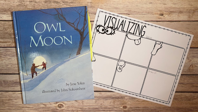 "Mentor Text with text ""Owl Moon"" and Graphic Organizer with text ""Visualizing"""