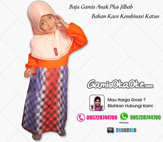 Baju muslim anak bahan kaos model gamis dengan bahan kaos berkualitas bagus dan harga murah meriah