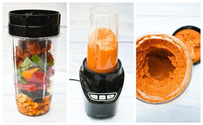 Ingredients for Red Pepper and Olive Spaghetti Sauce - photos show how ingredients in a blender jug, then finished creamy sauce
