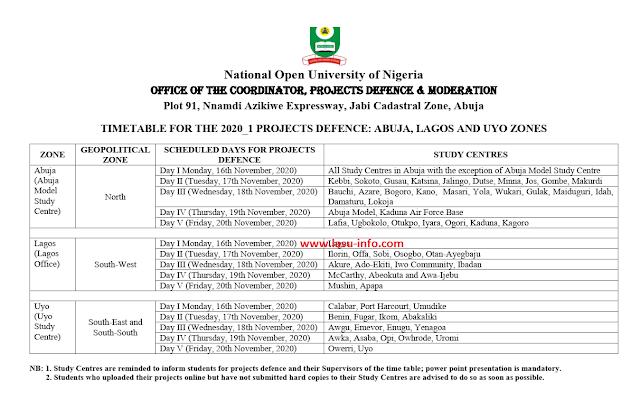NOUN 2020_1 Project Defence Timetable [Abuja, Lagos & Uyo Zones]