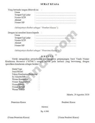 surat kuasa perpanjangan stnk