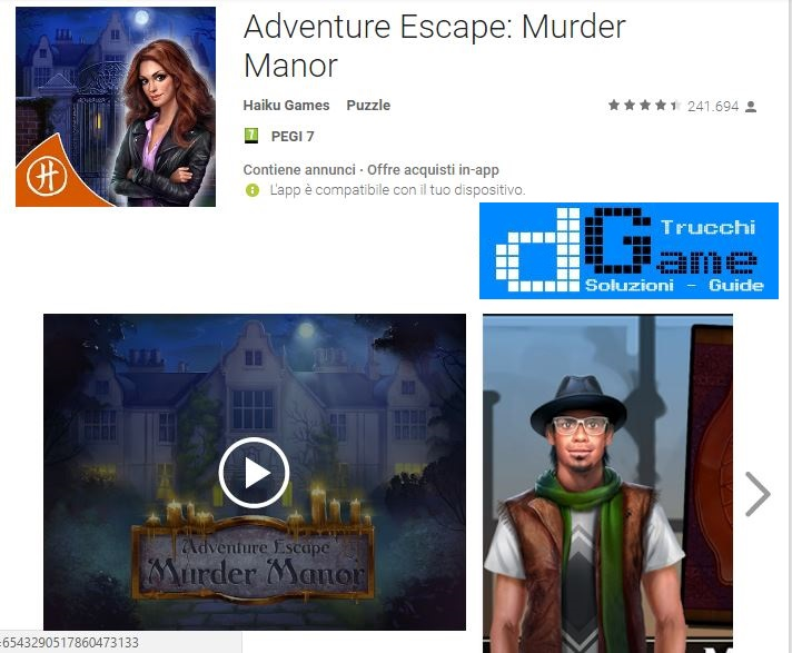Soluzioni Adventure Escape: Murder Manor