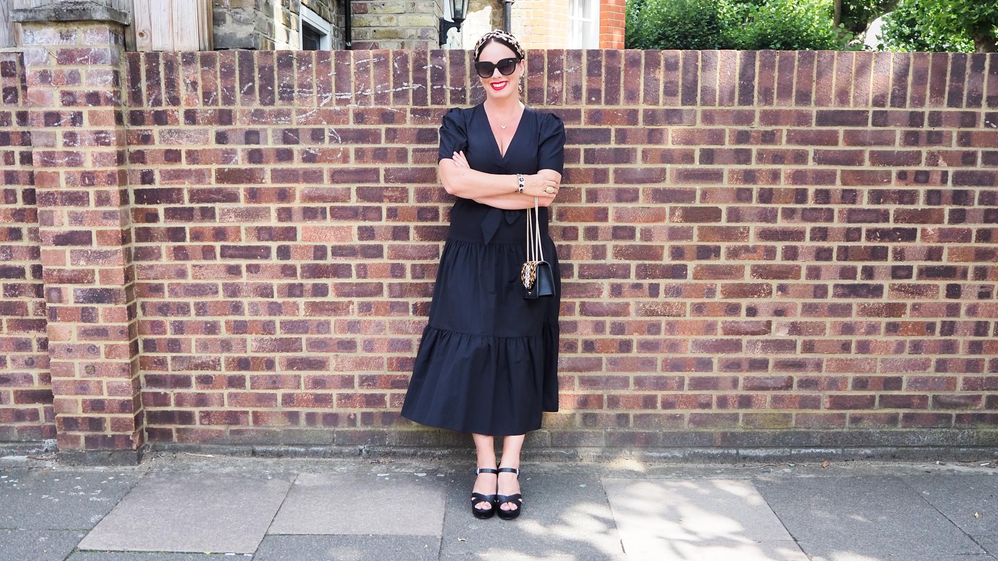 Black v-neck tiered ASOS dress